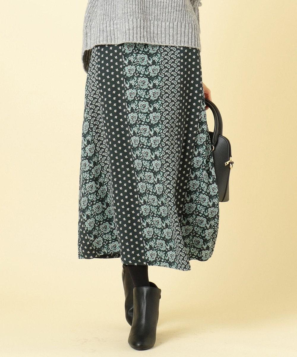 any SiS S 【洗える】パネルプリントロング スカート ダークグリーン系4