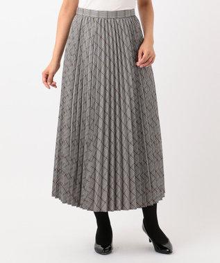 any SiS S 【洗える】チェックプリーツロング スカート ブラウン系