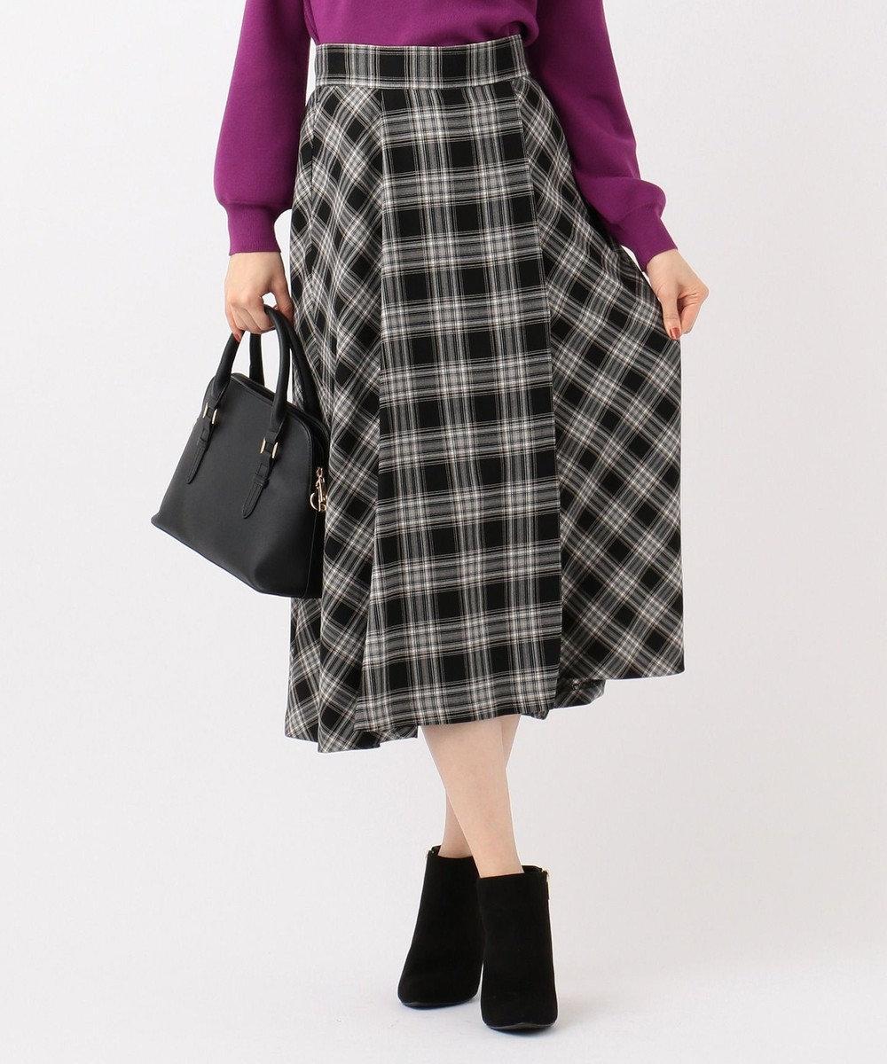 any SiS S 【洗える】パターンチェックフレア スカート ブラック系3