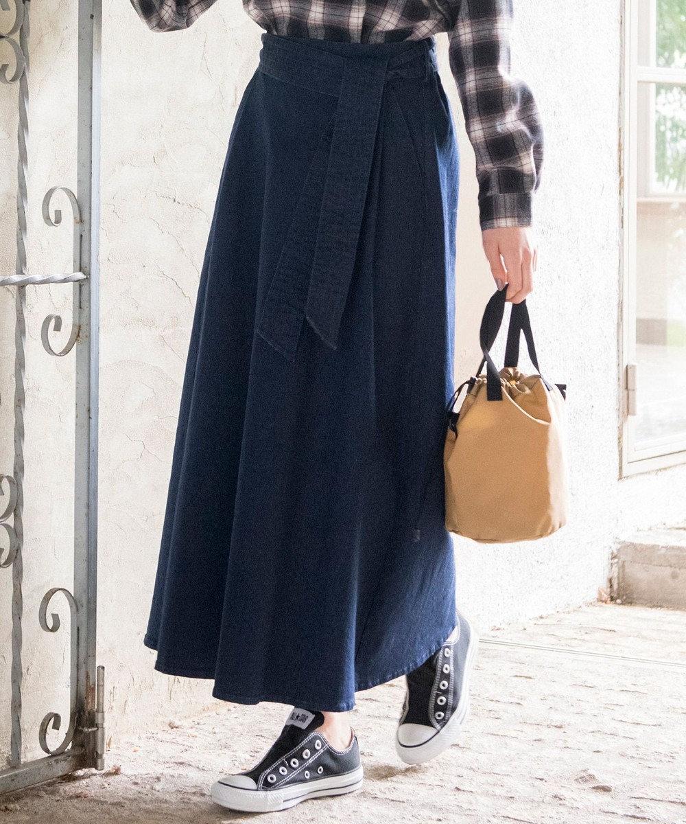 any SiS L 【L'aube】フレアデニム スカート ネイビー系