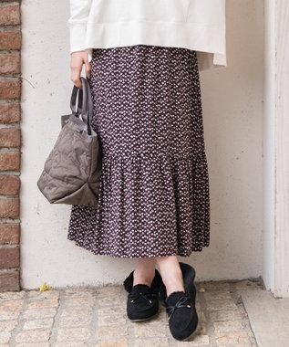 any SiS S 【L'aube】アンティークフラワーロング スカート ブラック