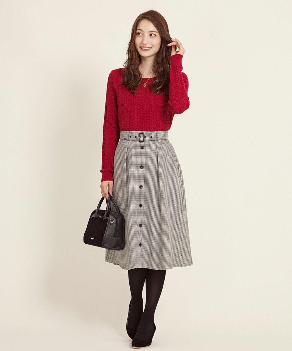 any SiS フロントボタンフレア スカート ブラック系2