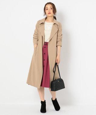 any SiS フロントボタンフレア スカート ローズ系