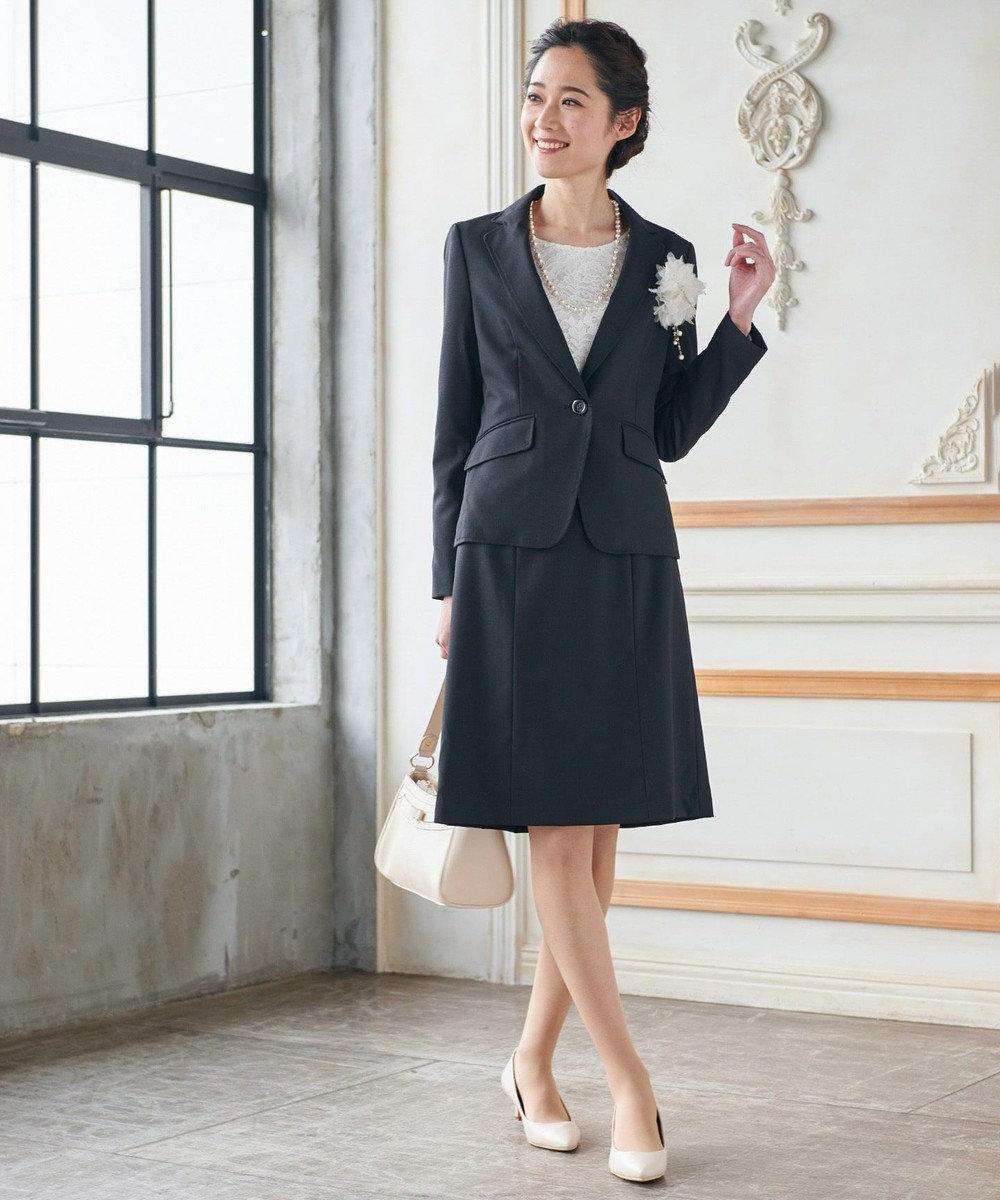 any SiS 【洗えるスーツ】ウォッシャブルT/Wスーツ スカート ブラック系