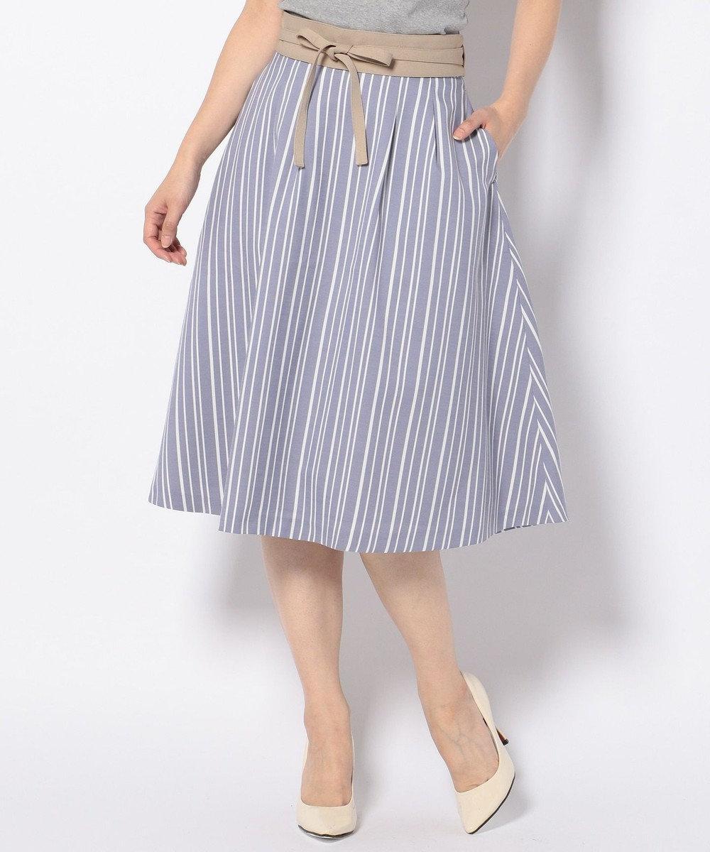 any SiS 【サッシュベルト付】ストライプフレア スカート ダルブルー系1