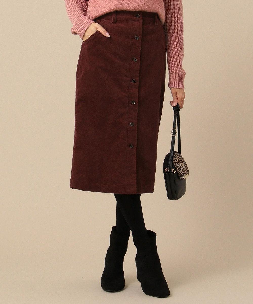any SiS 【洗える】コーデュロイペンシル スカート ワイン系