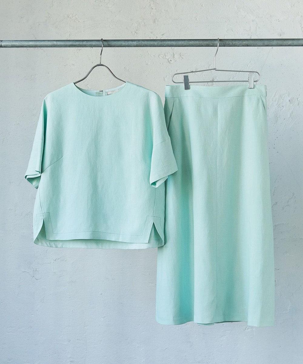 自由区 L 【洗える】LINEN OX スカート ライトグリーン系