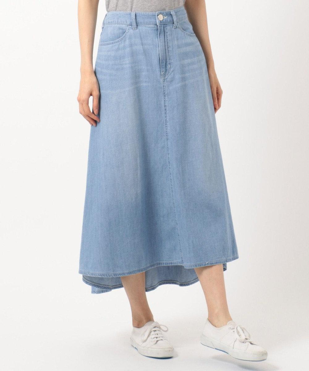 組曲 【洗える】ライトオンスデニム マキシスカート スカイブルー系