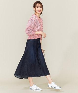 組曲 L 【洗える】ライトオンスデニム マキシスカート ブルー系