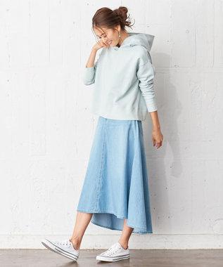 組曲 L 【洗える】ライトオンスデニム マキシスカート スカイブルー系