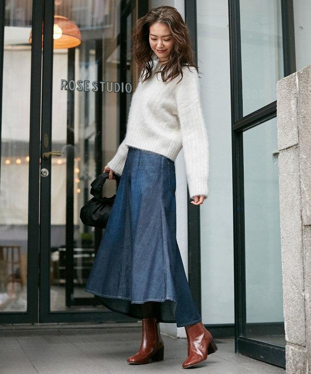 組曲 【洗える】ライトオンスデニム マキシスカート ブルー系