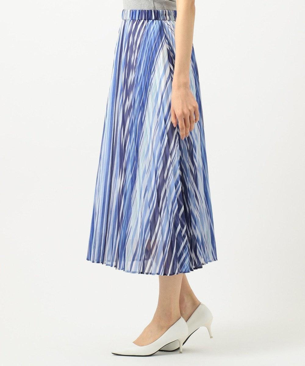 組曲 L 【洗える】シアーストライプ プリーツスカート ブルー系1