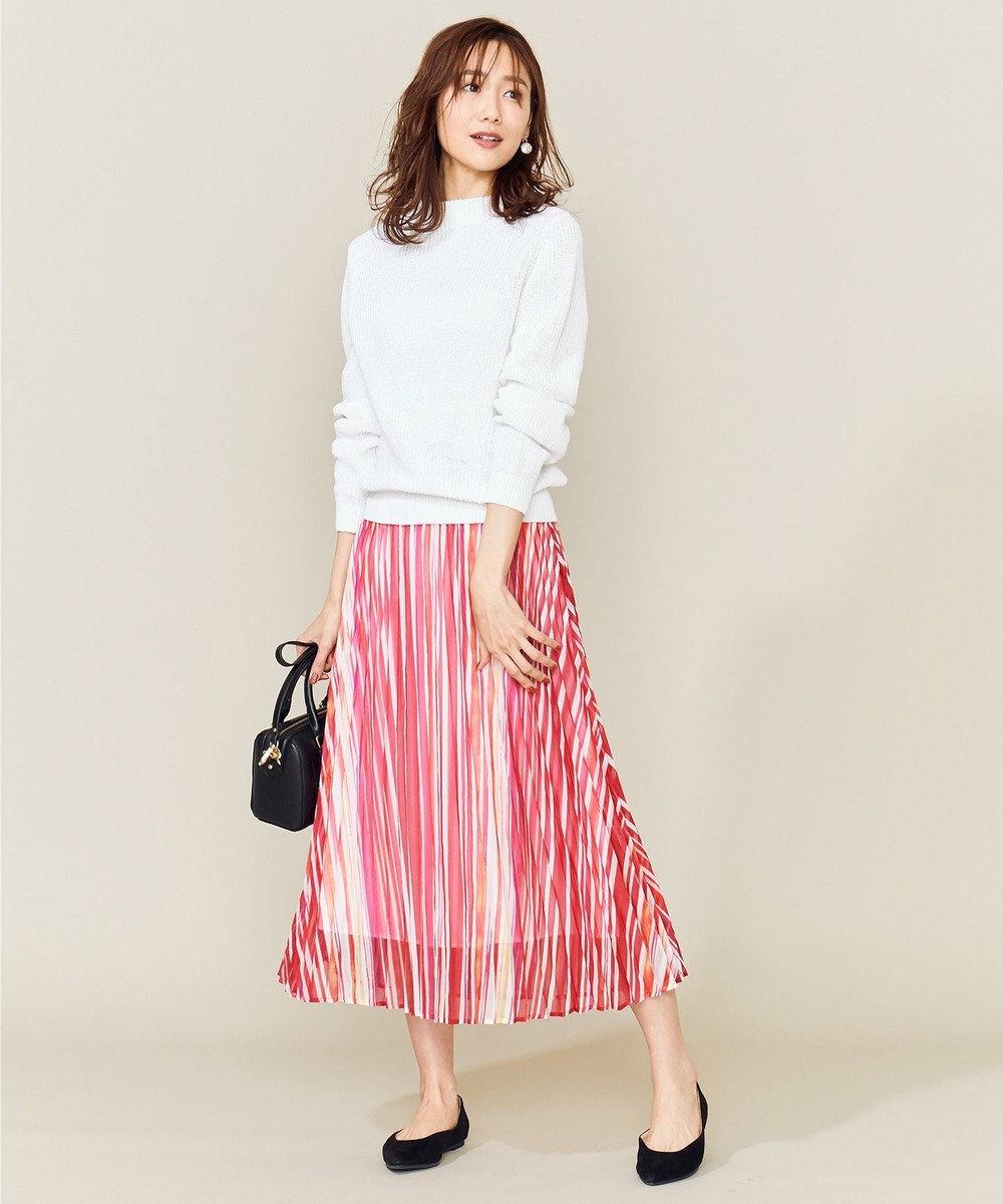 組曲 L 【洗える】シアーストライプ プリーツスカート レッド系1