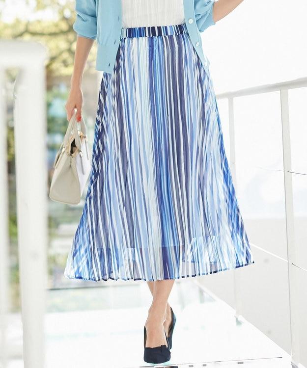 組曲 L 【洗える】シアーストライプ プリーツスカート