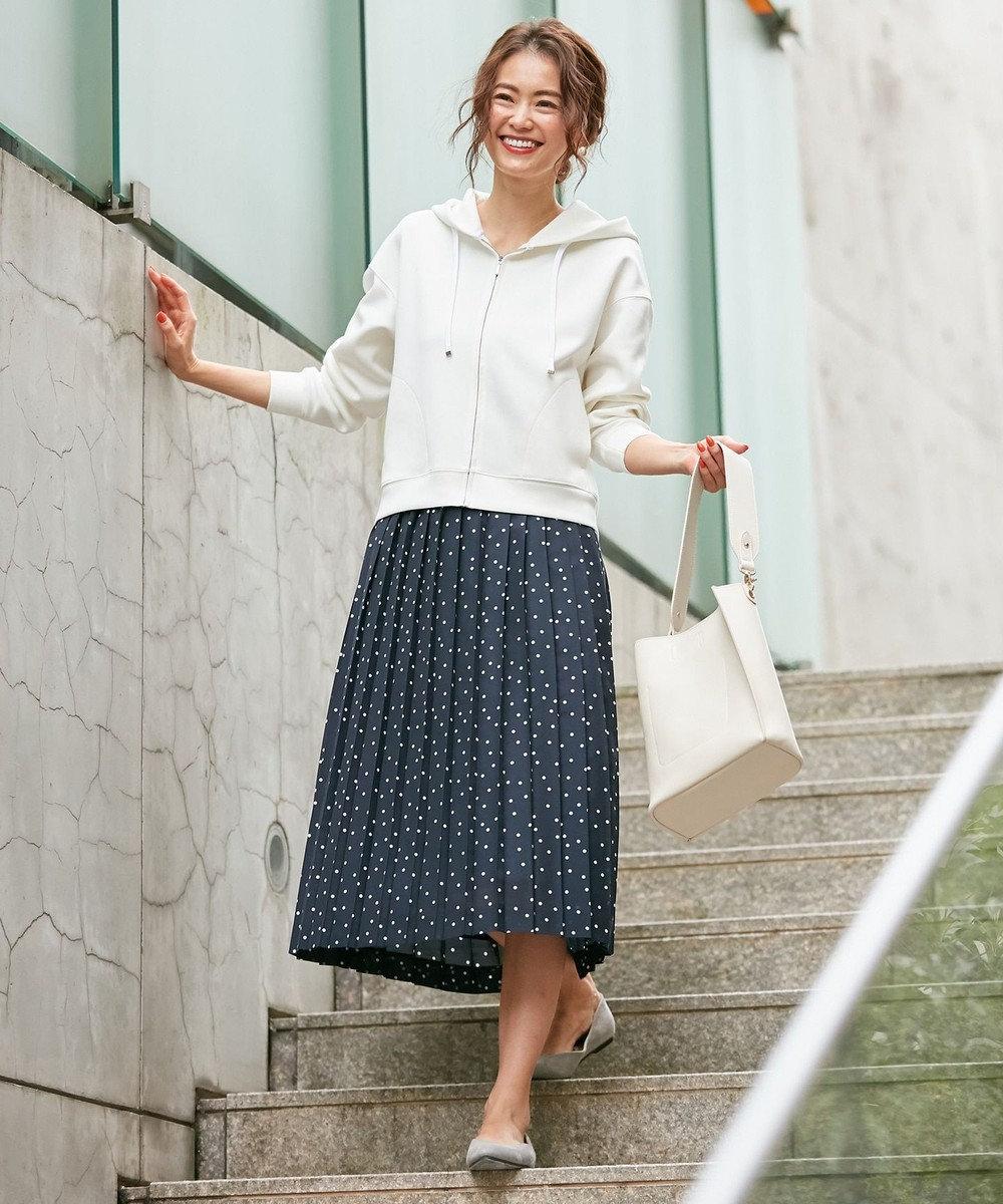 組曲 【洗える】マーガレットフラワードットプリント プリーツスカート ネイビー系3