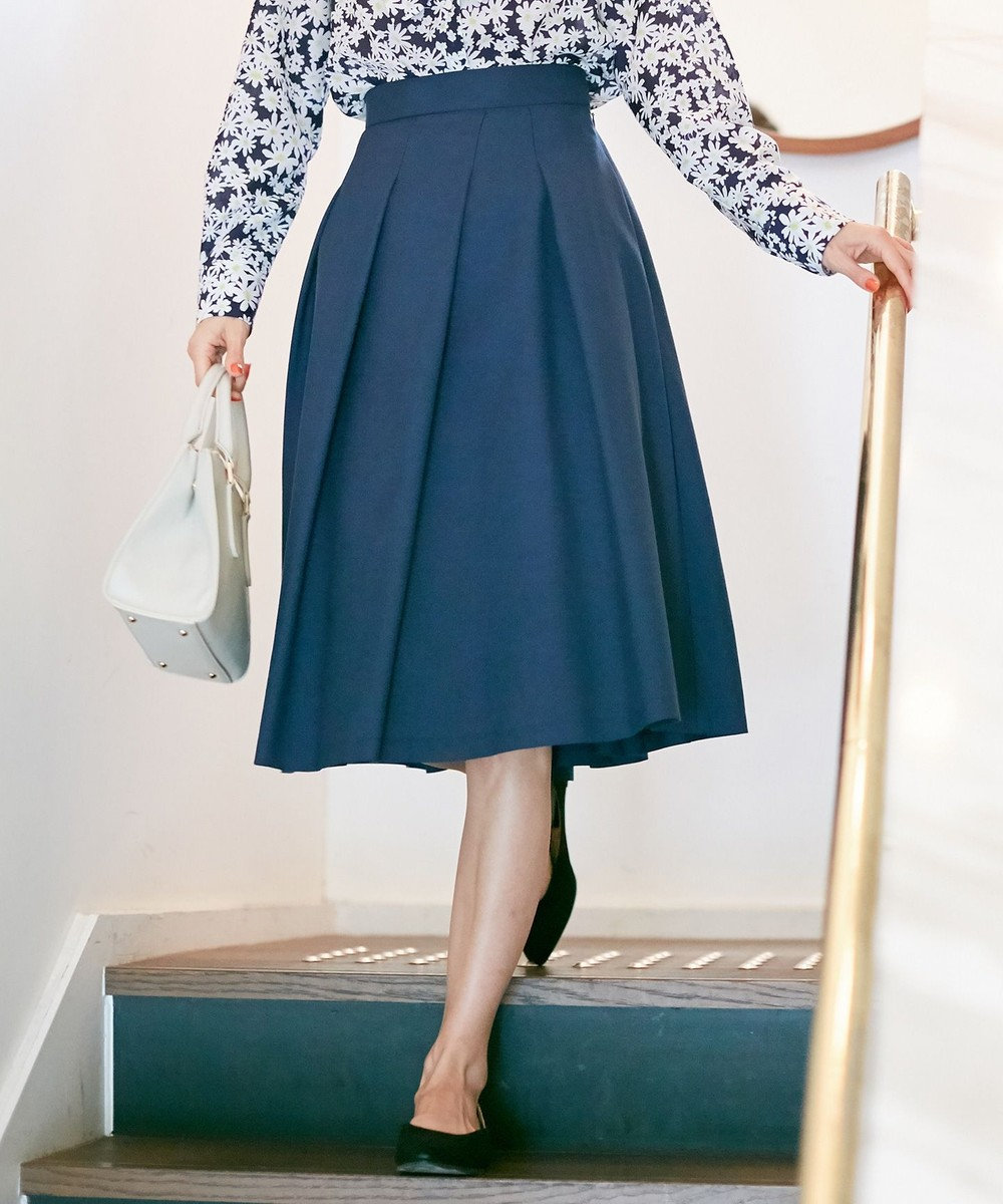 組曲 S 【洗える】ライトカラースカート ネイビー系