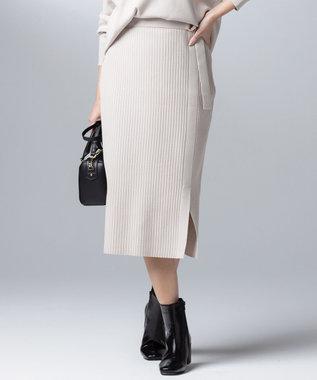 組曲 【大好評につき再販決定!】ストレッチニットリブスカート アイボリー系