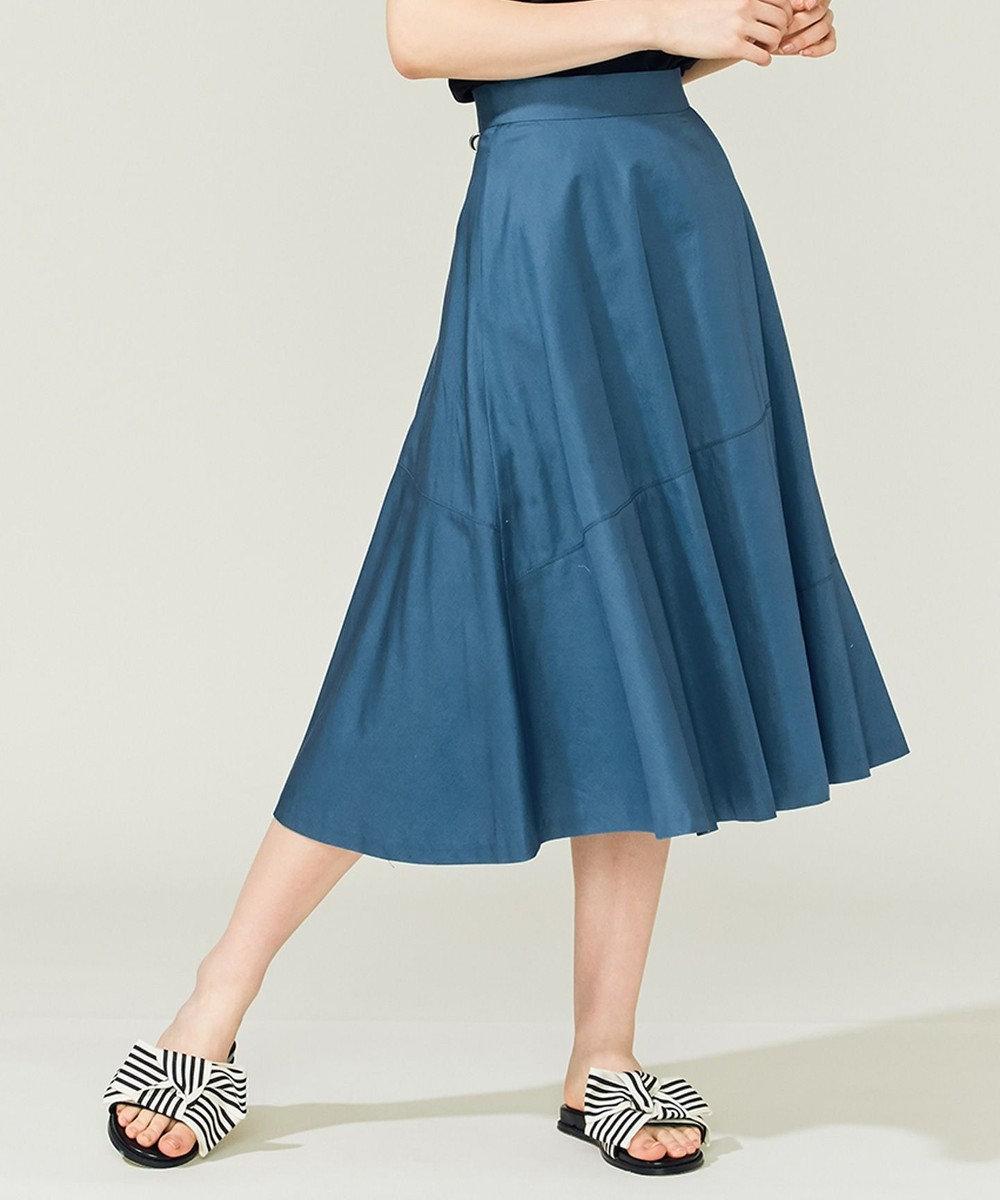 組曲 【Rythme KUMIKYOKU】ハイカウントサテン スカート ダークグリーン系