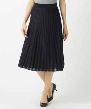 組曲 【Oggi2月号掲載】ポリエステルハイゲージ ニットプリーツスカート ネイビー系