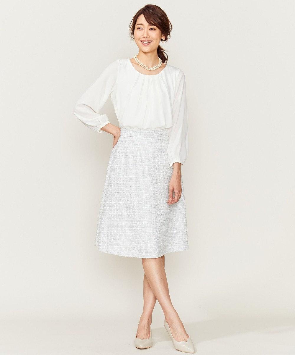 組曲 【セットアップ対応】ラメループモールツイード スカート ライトグレー系