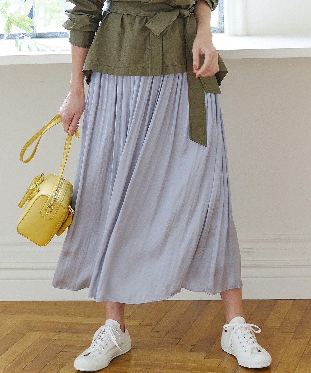 組曲 【洗える】ヴィンテージサテン ギャザーロングスカート ライトグレー系