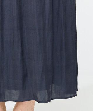 組曲 【洗える】ヴィンテージサテン ギャザーロングスカート ネイビー系