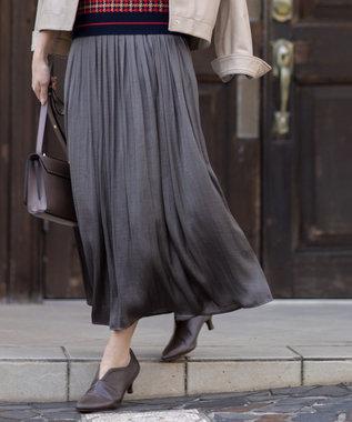 組曲 【洗える】ヴィンテージサテン ギャザーロングスカート ダークブラウン系