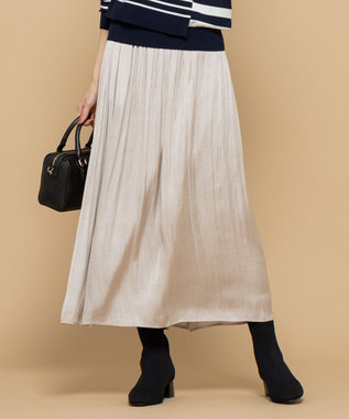 組曲 【洗える】ヴィンテージサテン ギャザーロングスカート ベージュ系