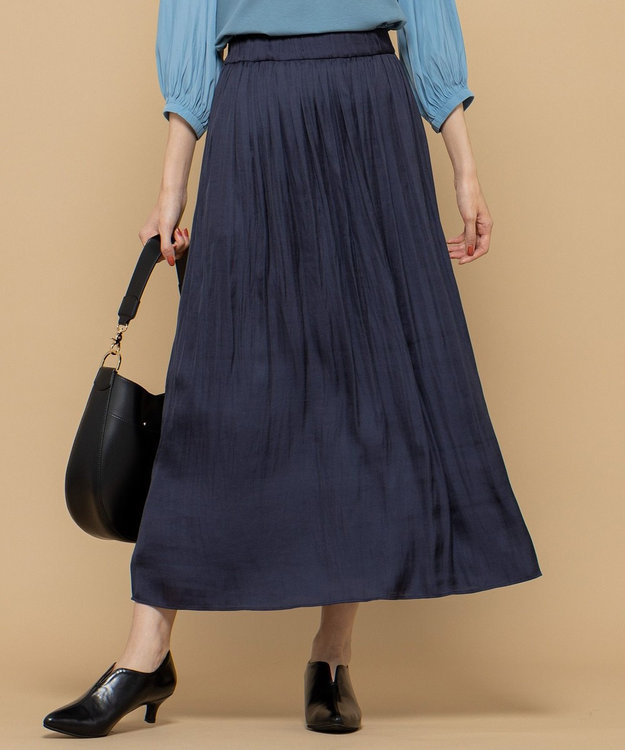 組曲 【洗える】ヴィンテージサテン ギャザーロングスカート