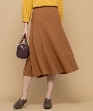 組曲 【洗える】ホールガーメント ニットフレアスカート キャメル系