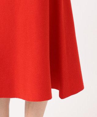 組曲 【洗える】ホールガーメント ニットフレアスカート レッド系