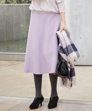 組曲 【洗える】ホールガーメント ニットフレアスカート ふじ色系