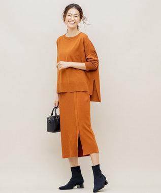 組曲 【洗える】スムースストレッチ リブニットスカート キャメル系