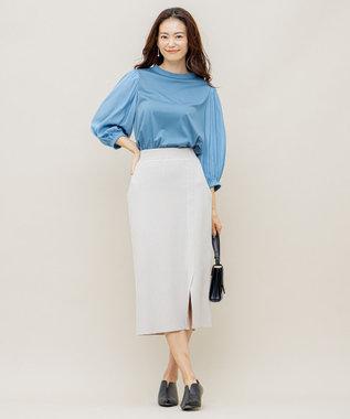 組曲 【洗える】スムースストレッチ リブニットスカート アイボリー系