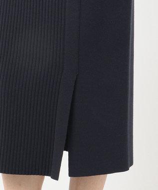 組曲 【洗える】スムースストレッチ リブニットスカート ネイビー系