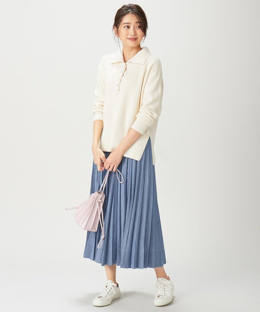 組曲 S 【洗える】プリーツ デニムスカート ブルー系