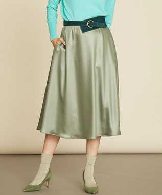 組曲 【Rythme KUMIKYOKU】シアープレスサテン フレアスカート グリーン系
