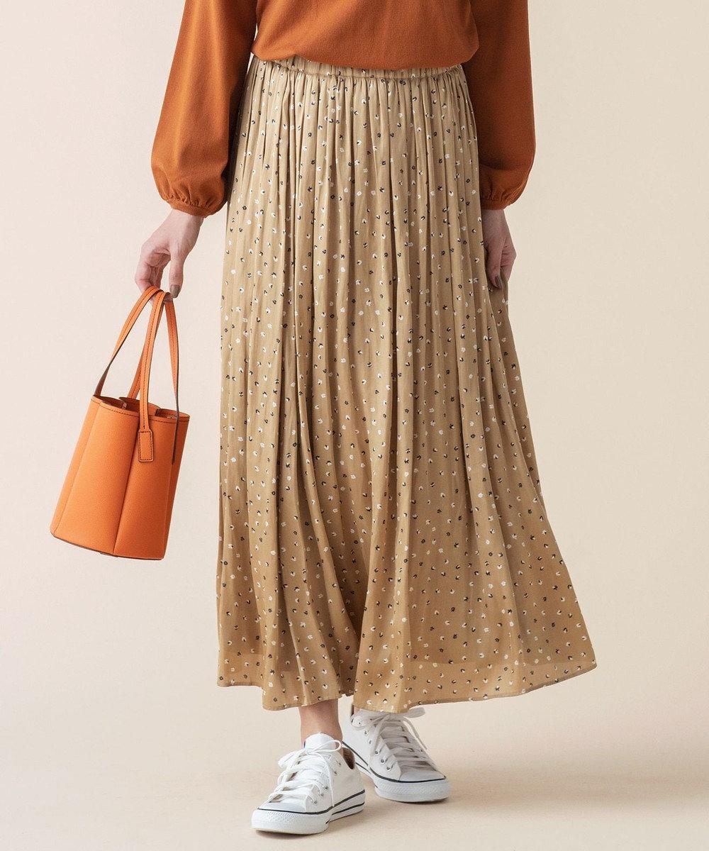 組曲 【洗える】ヴィンテージサテンギャザープリント スカート キャメル系5