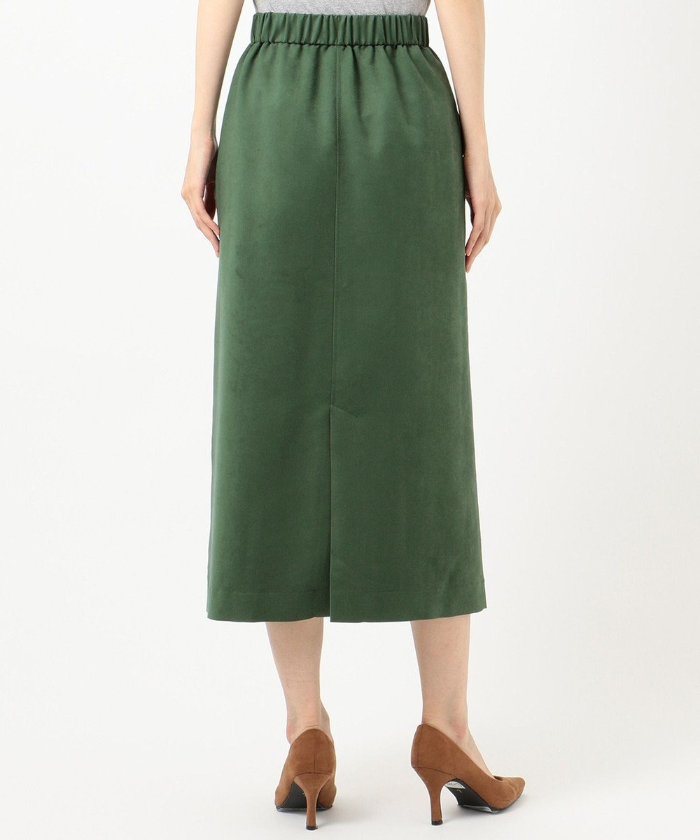組曲 【洗える】マットスエード タイトスカート グリーン系
