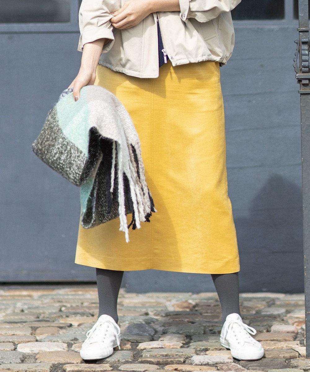 組曲 【洗える】マットスエード タイトスカート イエロー系