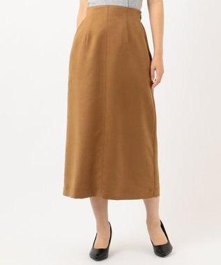 組曲 【洗える】マットスエード タイトスカート キャメル系
