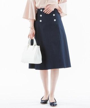 組曲 【小倉優子さん番組着用/洗える】C/Lyoギャバストレッチ マリンスカート ネイビー系