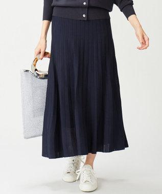 組曲 【セットアップ対応】ライトニットアップ ニットスカート ネイビー系