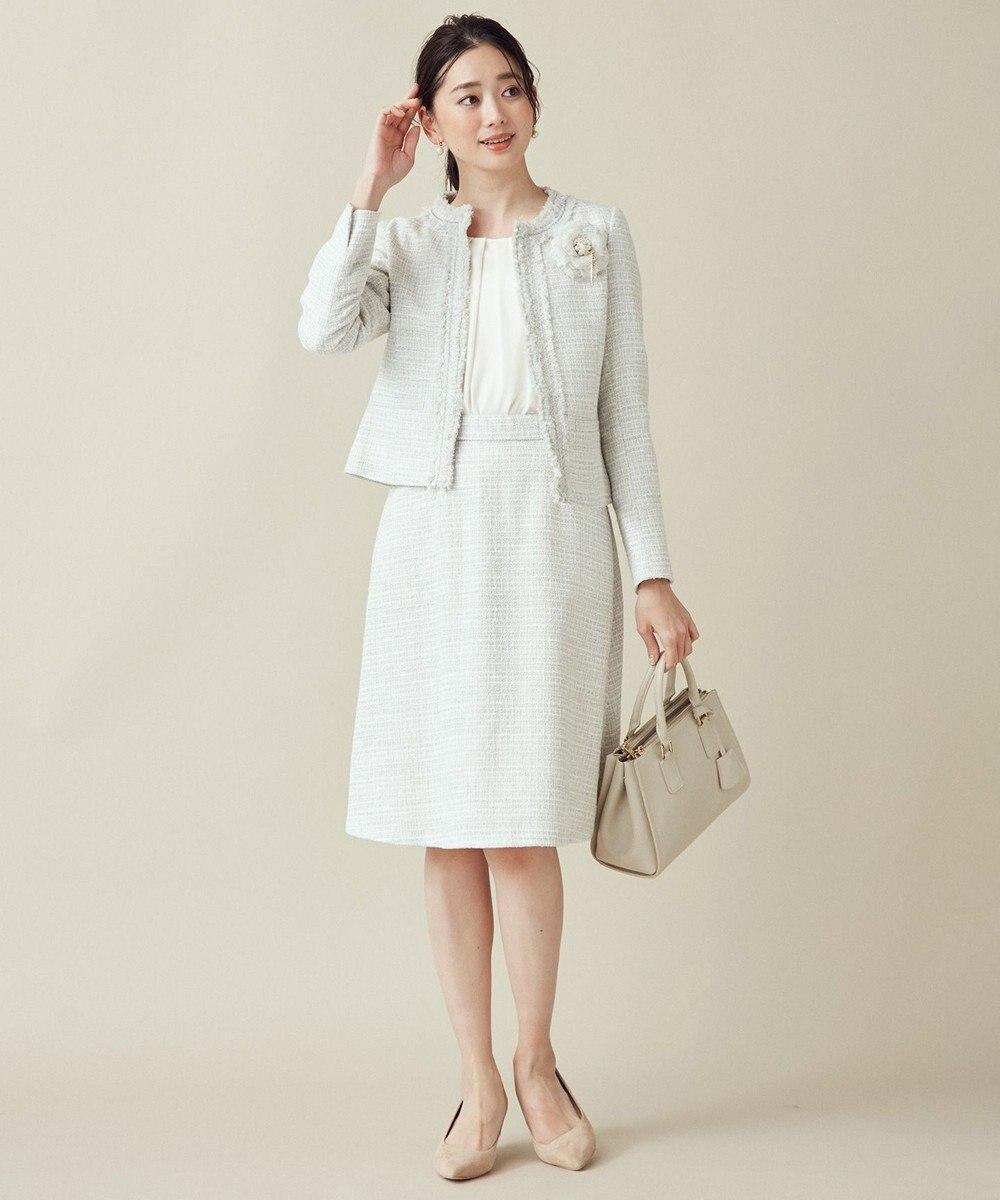 組曲 S 【セットアップ対応】ラメループモール ツイード スカート ライトグレー系