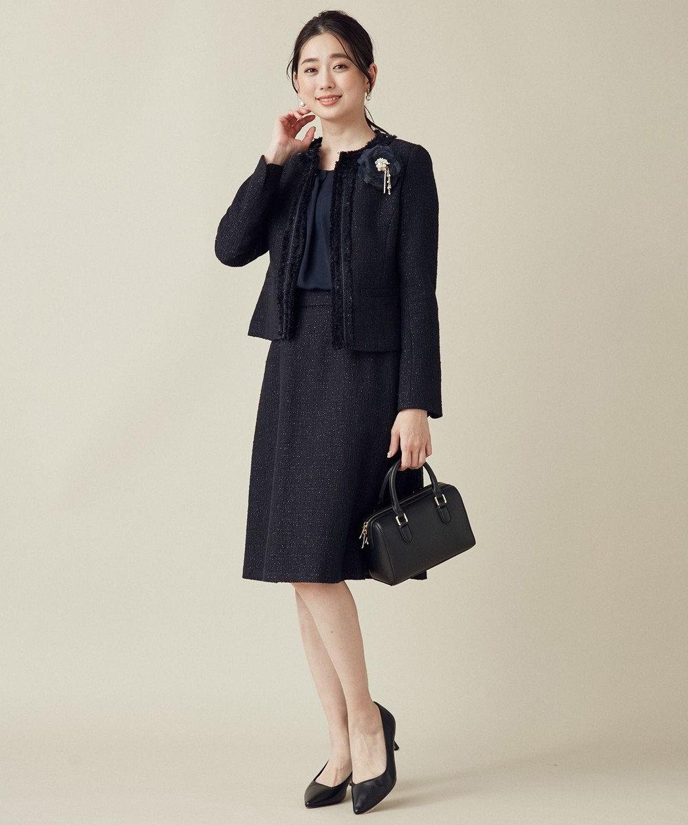 組曲 S 【セットアップ対応】ラメループモール ツイード スカート ネイビー系