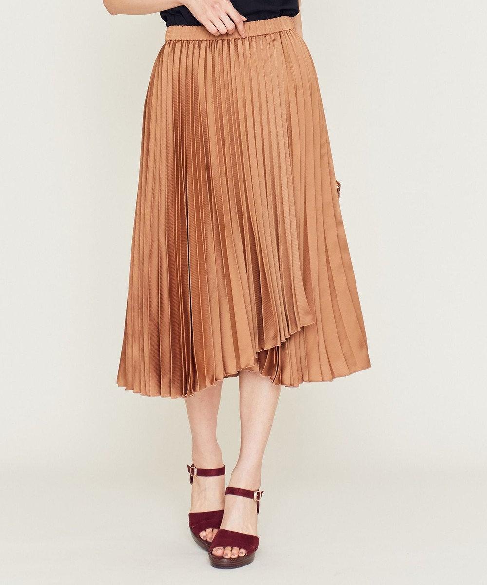 組曲 【洗える】ラップデザインプリーツ スカート キャメル系