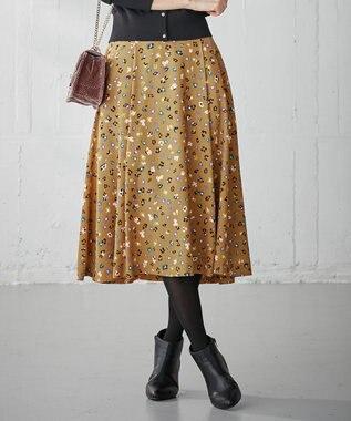 組曲 【洗える】Ericaアニマルフラワープリント フレアスカート キャメル系5