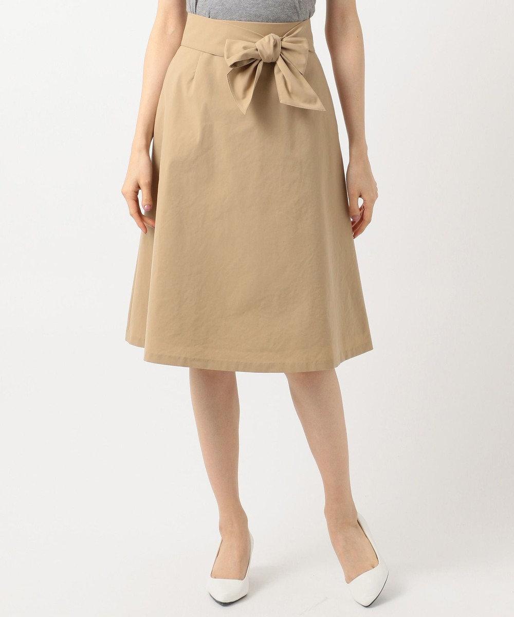 組曲 【洗える】ライトタスランストレッチ スカート ベージュ系