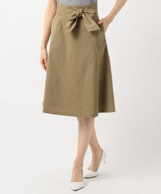 組曲 【洗える】ライトタスランストレッチ スカート カーキ系