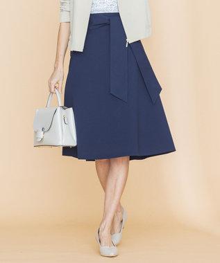 組曲 【洗える】ライトタスランストレッチ スカート ネイビー系
